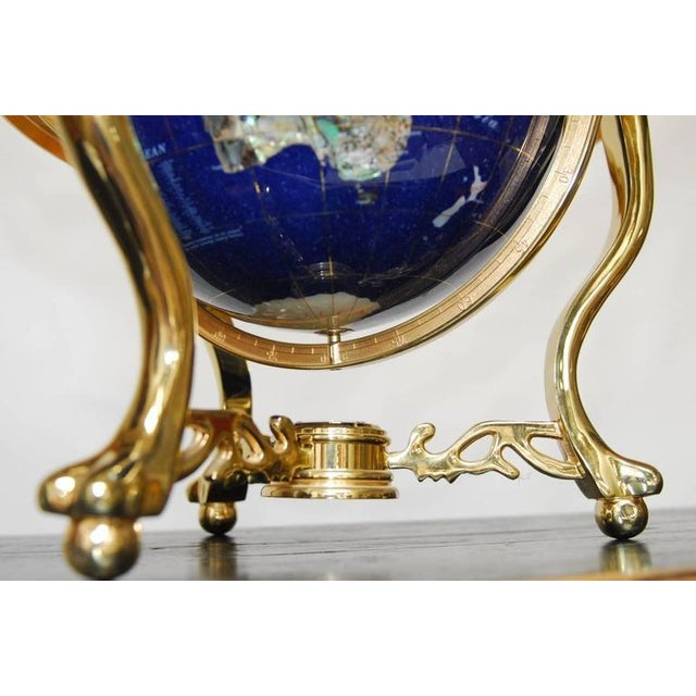 Maitland Smith Attributed Pietra Dura & Brass Globe For Sale - Image 9 of 10