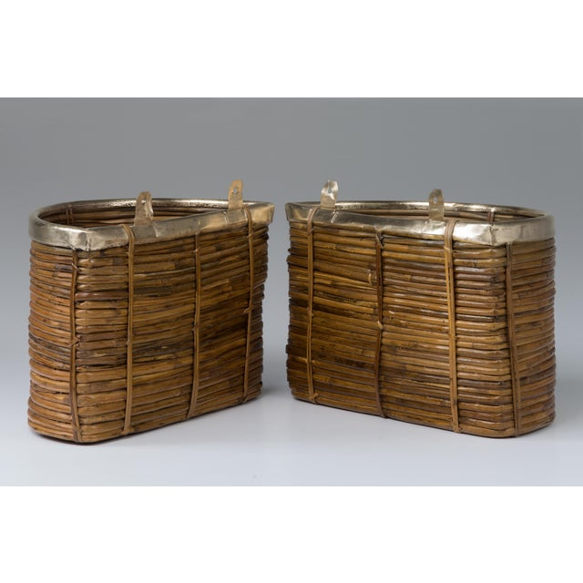 1970s Mid Century Handmade Pencil Reed Cane Brass Hanging Planters For Sale - Image 4 of 13