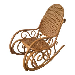 Mid-Century Boho Chic Bentwood Bamboo Rocking Chair For Sale