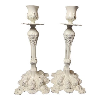 Vintage Hand Painted White Spelter Candle Holder - a Pair For Sale