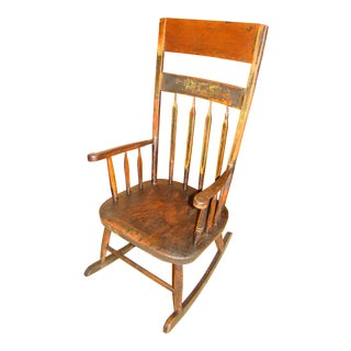 Pre-Civil War Hand Whittled & Planed Colonial Rocking Chair For Sale