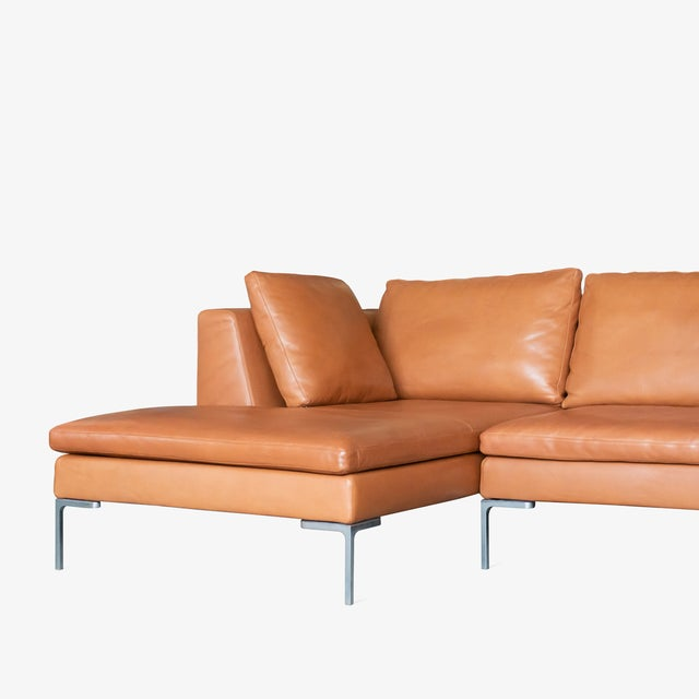 Contemporary B&b Italia Charles Sectional in Cognac Leather by Antonio Citterio For Sale - Image 3 of 10