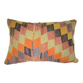 Faded Color Kilim Rug Pillow Cover, Bohemian Kitchen Sofa Decor, Primitive Square Cushion Case 16'' X 24'' (40 X 60 Cm) For Sale