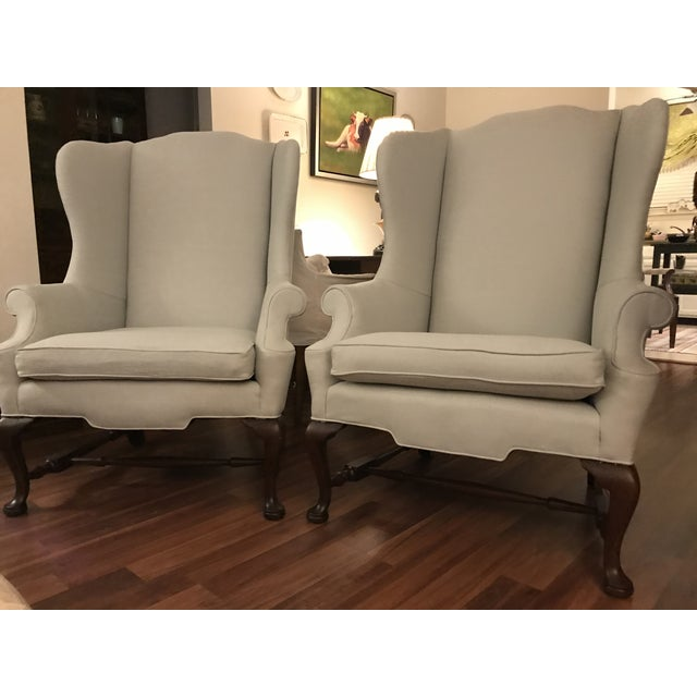 These Queen Anne style Wingback chairs came out of an estate sale, very old but have been reupholster. They are sturdy and...