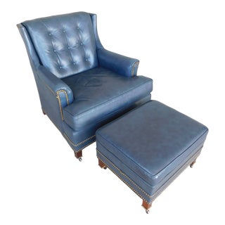 Hancock & Moore Leather Tufted Back Club Chair and Ottoman For Sale