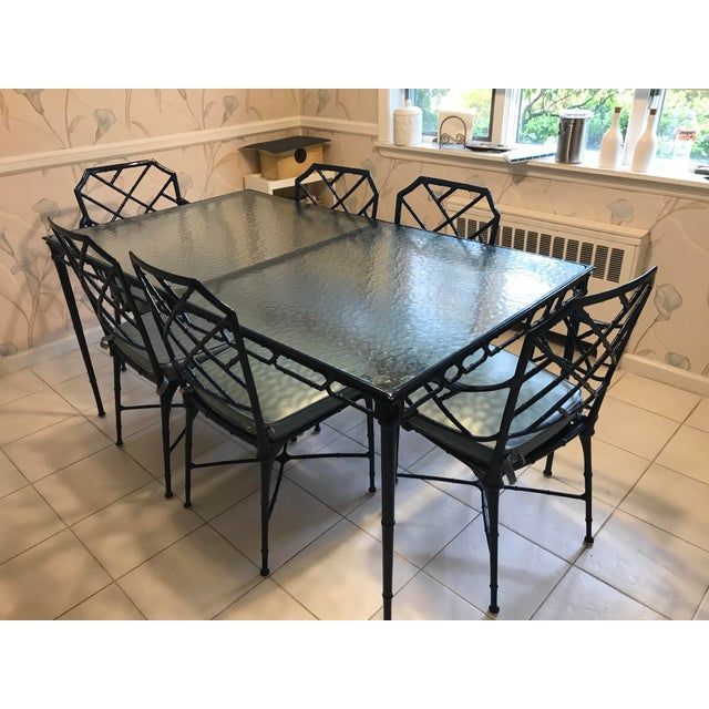 Hollywood Regency Brown Jordan Navy Blue Metal and and Glass Dining Set - 7 Pieces For Sale - Image 9 of 9