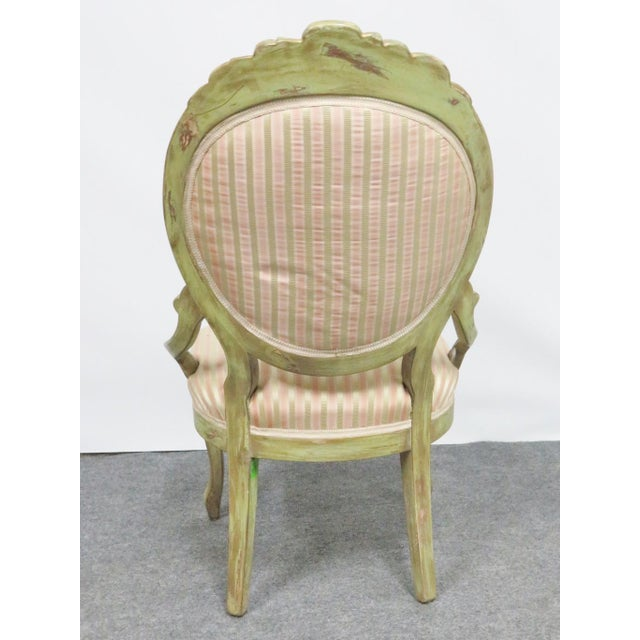 Victorian Style Paint Distressed Side Chair For Sale - Image 4 of 7