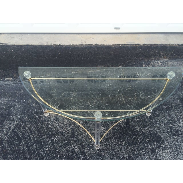 Lucite & Brass Sofa Table - Image 3 of 7