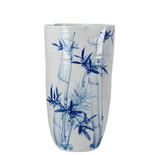 Chinoiserie Blue & White Porcelain Vase For Sale