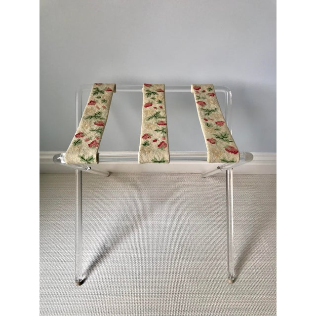 Mid Century Lucite and Needlepoint Folding Luggage Valet Stand For Sale In New York - Image 6 of 6