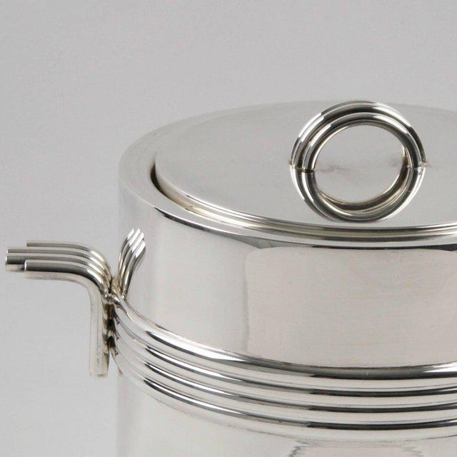 French Christian Dior Mid-Century Modern Silver Plate Ice Bucket For Sale - Image 3 of 6