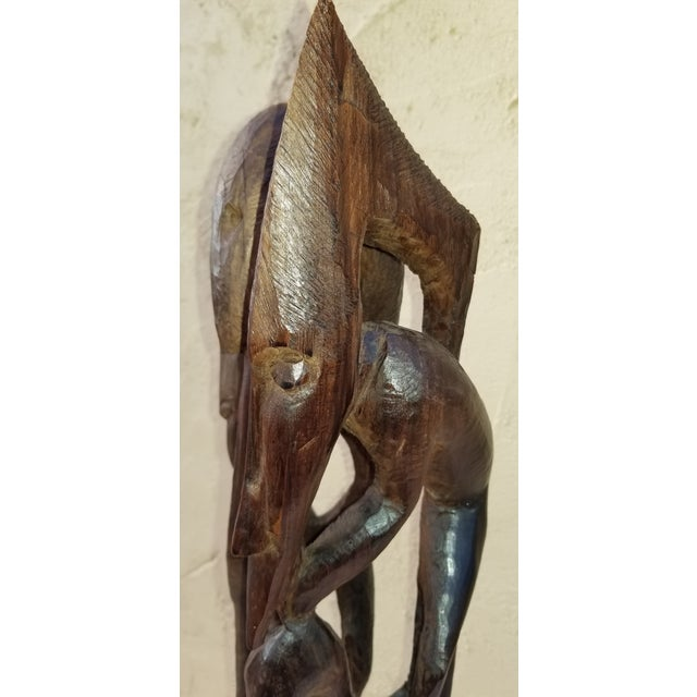 1970s Vintage African Tree of Life Hand Carved Wood Sculpture For Sale - Image 9 of 13