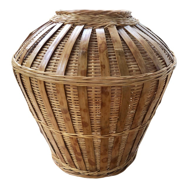 Vintage Mid-Century Natural Woven Wicker Rattan Basket Urn For Sale