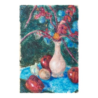 'Apples and Cherry Blossoms' by Sally Mack, Post-Impressionist Still Life, Woman Artist For Sale