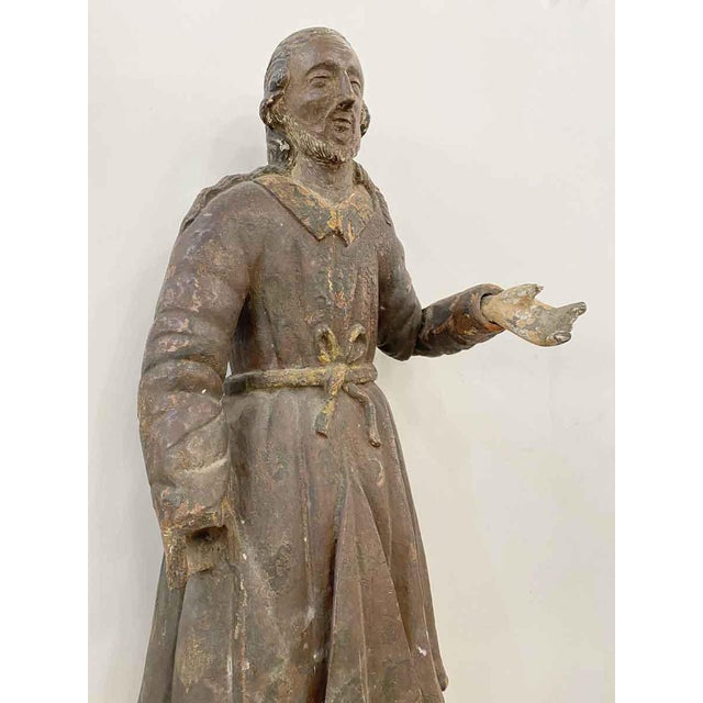 Antique San Isidro 32 In. Wood Statue For Sale - Image 4 of 13