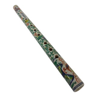 Antique Chinese Porcelain Flute With Box