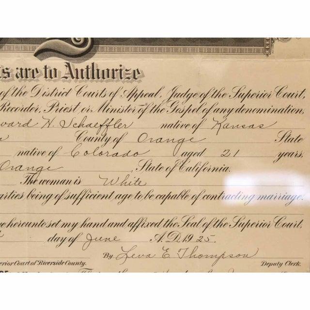 1925 Framed Marriage License For Sale - Image 4 of 7