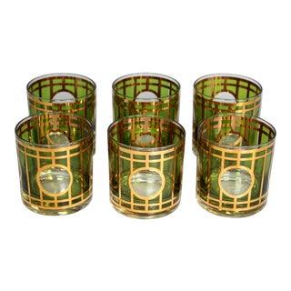 1960s 22-Karat Gold & Green Culver Ltd. Art Deco Revival Whiskey Glasses - Set of 6 For Sale