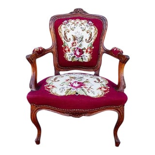 Antique Hand Carved French Country Louis XV Needlepoint Armchair