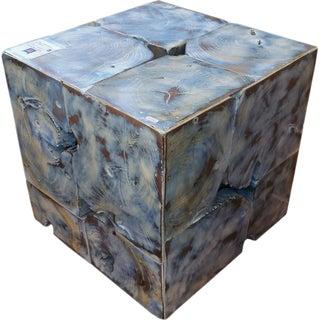 Teak Wood Cube Stool For Sale