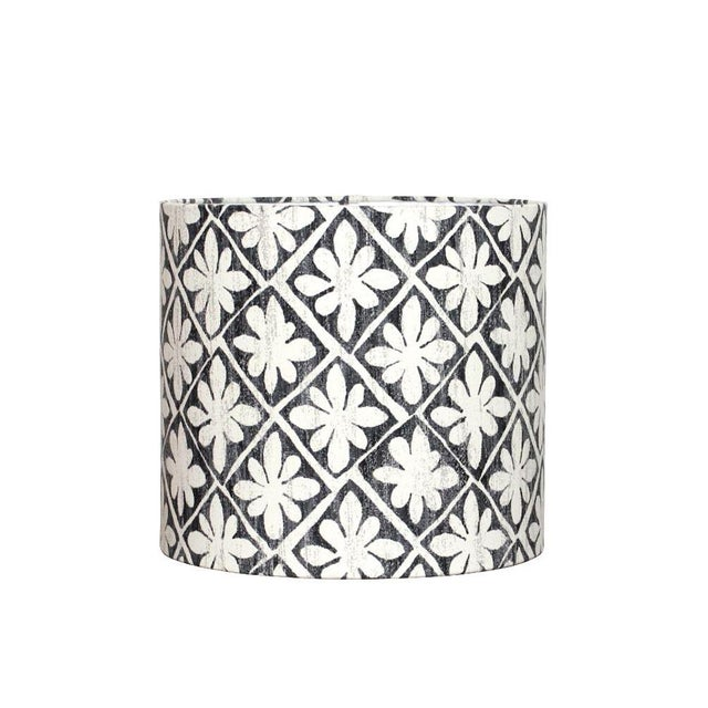 Desta Floral Drum Lamp Shade in Ebony For Sale In Seattle - Image 6 of 6