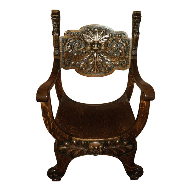 Antique Carved North Wind Face & Lion's Heads Oak Throne Chair - Antique Carved North Wind Face & Lion's Heads Oak Throne Chair