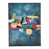 Image of 1960 Abstract Cubist Mid Century Modern Huge Original Painting For Sale