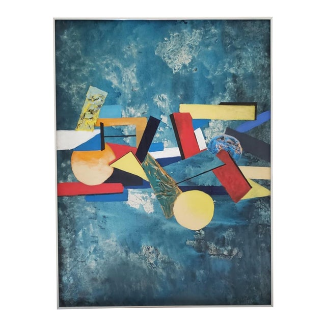 1960 Abstract Cubist Mid Century Modern Huge Original Painting For Sale