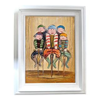 Vintage Mid-Century Ladies on Pogo Sticks Signed Painting For Sale