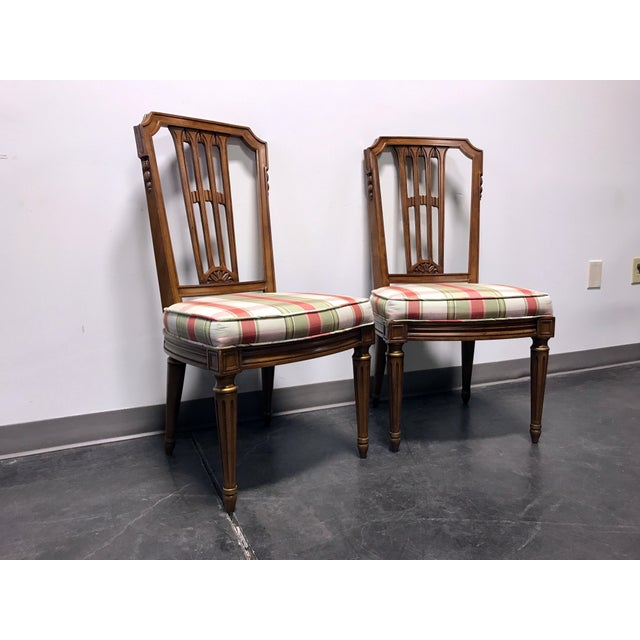 HENREDON Capri Mid Century Italian Provincial Neoclassical Style Dining Side Chairs - Pair 20w 22d 39h, seats are 19h...