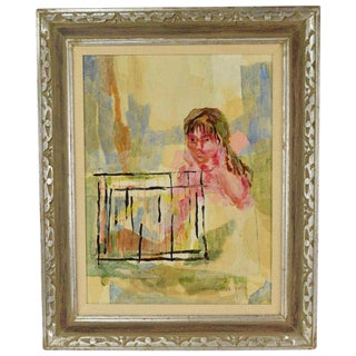 1960s Vintage Hilda Rubin Gallery Abstract Girl Mixed Media Painting For Sale