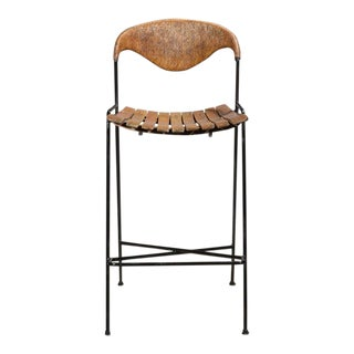 1960s Vintage Arthur Umanoff Wrought Iron Bar Stool For Sale