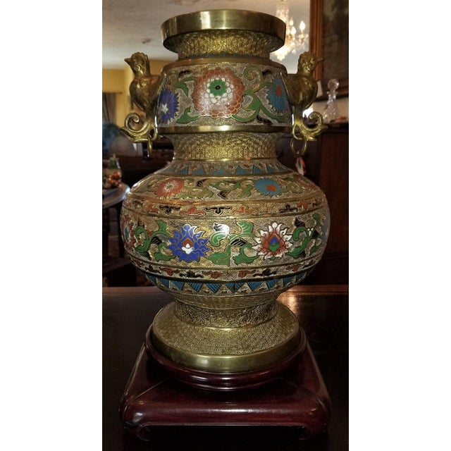 Large Oriental Champleve Cloisonne Urn on Stand For Sale - Image 9 of 13