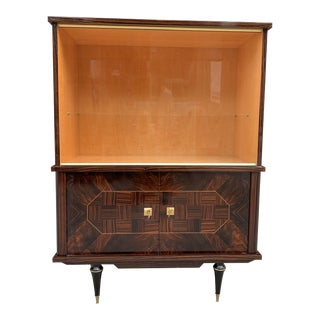 1940s French Art Deco Macassar Ebony Dry Bar Cabinet For Sale