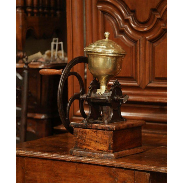 Large 19th Century French Walnut Iron and Brass Coffee Grinder For Sale In Dallas - Image 6 of 11