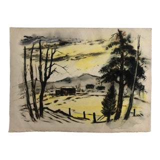 1950s Vintage Bucolic Farm Scene at Dusk Watercolor Painting For Sale