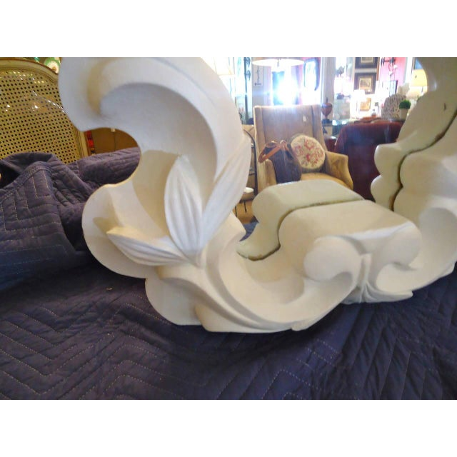 Chunky curvy and sexy in the style and drama of Dorothy Draper, asymmetrical white molded plaster mirror.