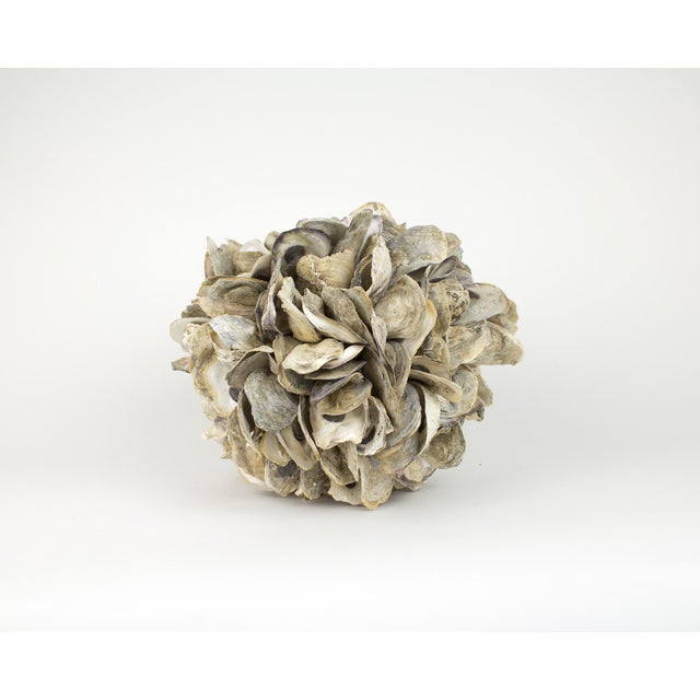 Large sphere sculpture made of natural oyster shells. Each shell is strung together with rope to creature a round shape....