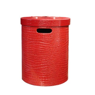 Leather Vinyl Cover Red Round Bucket Container Box Large For Sale