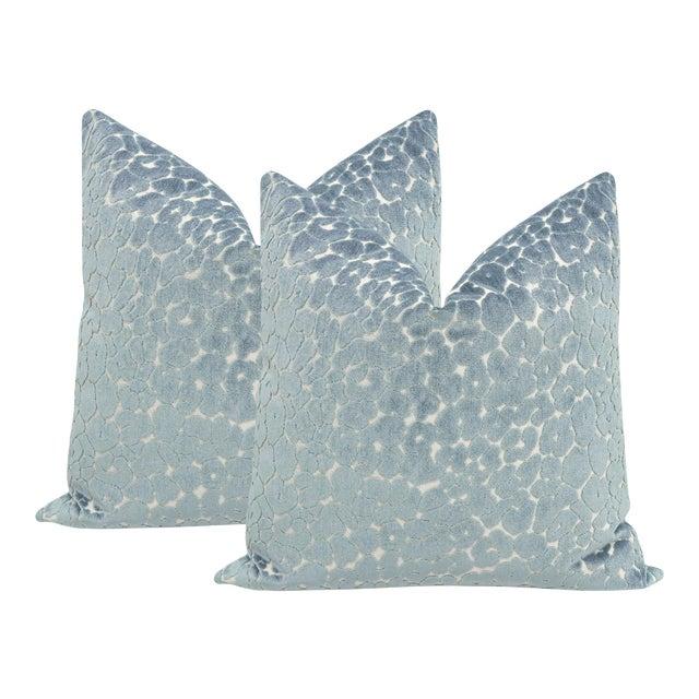 """22"""" Cerulean Blue Leopard Cut Velvet Pillows - a Pair For Sale"""