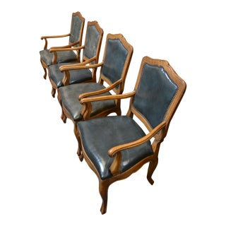 Baker French Oak Leather Dining Chairs - Set of 4 For Sale