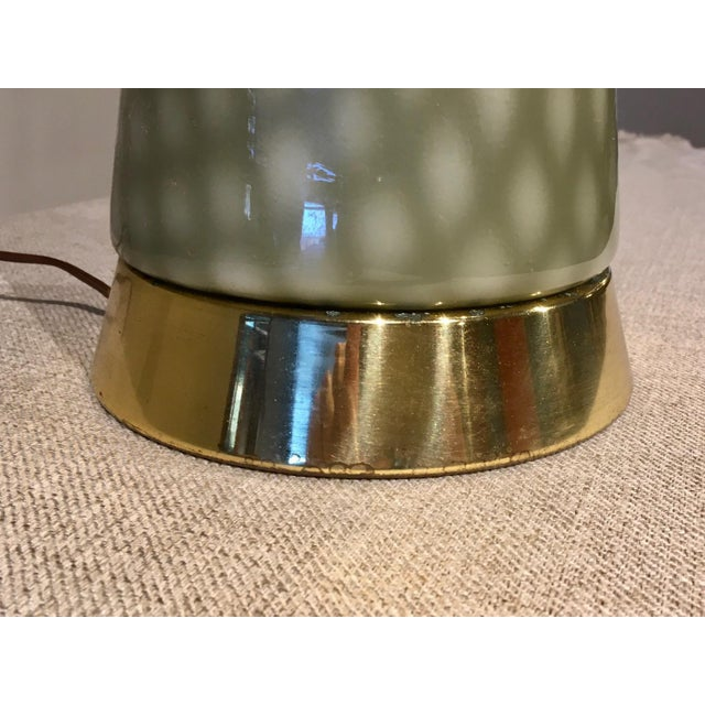 Vintage Gray Green Art Glass Mid Century Table Lamp For Sale - Image 4 of 9