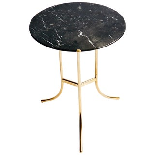 Cedric Hartman Brass and Marble Side Table For Sale