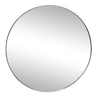 Round Brass Framed Gio Ponti Style Mirror For Sale
