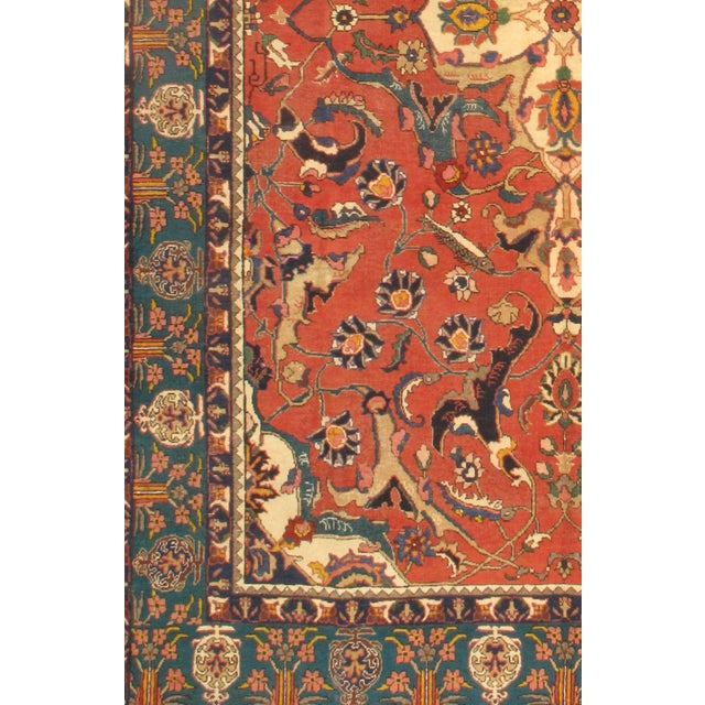Antique Persian Tabriz Lamb's Wool Rug on a cotton foundation. Hand-Spun Wool Rug Vegetable Dyed Mint condition This rug...