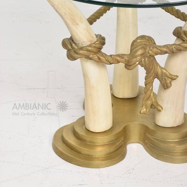Gold Pair of Side Tables in Faux Ivory & Bronze For Sale - Image 8 of 9