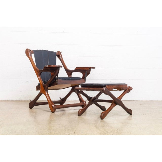 Mid Century Mexican Modern Don Shoemaker Swinger Chair With Ottoman For Sale - Image 13 of 13