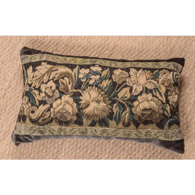 18th century large lumbar tapestry fragment pillow constructed with plush velvet in rich chocolate hue. Tapestry framed...