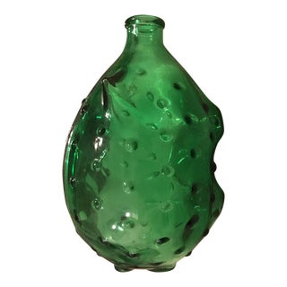 Green Hobnail Glass Pig