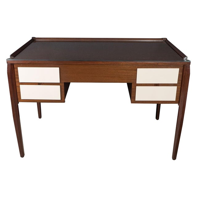 1960s Vintage Four Drawer Lacquered Wood Panel Desk For Sale - Image 5 of 5